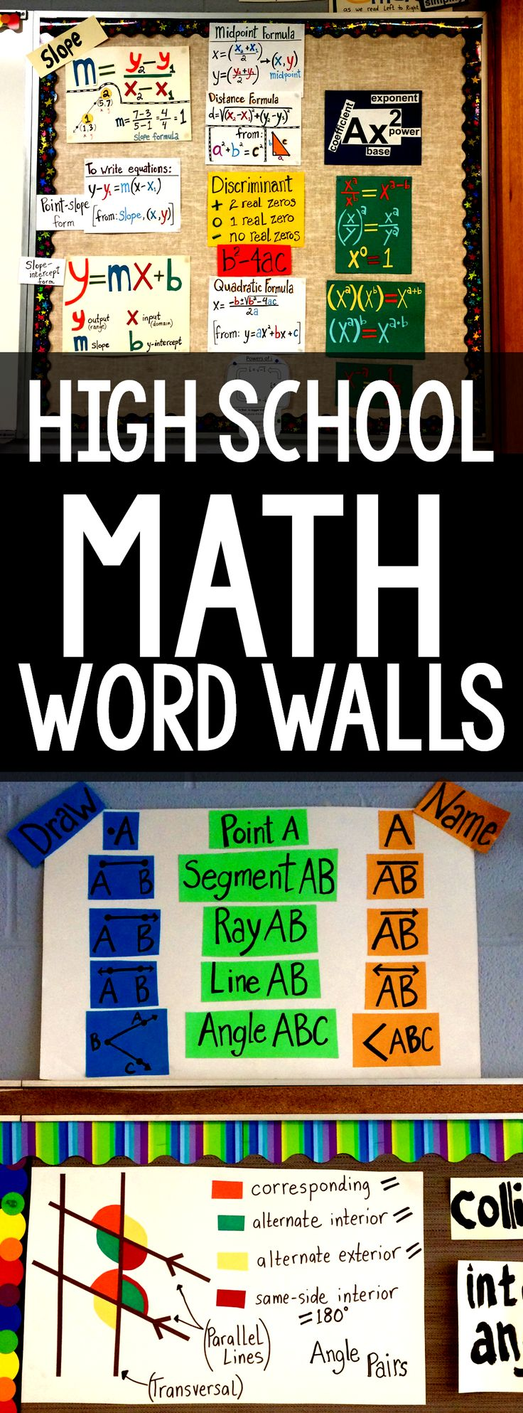 Math word wall ideas for high school math classes. There are ideas or Algebra, Geometry and Algebra 2 with links to math word walls for middle school math classes.