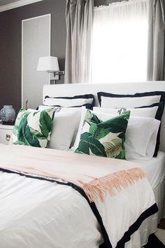 palm print pillows || black and white bedding