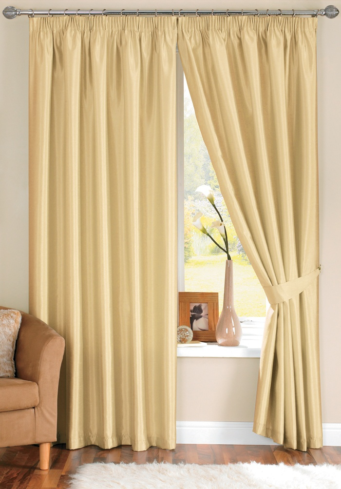 Minimalist Java Faux Silk Cream Pencil Pleat Curtains with tiebacks From £23 13 New Design - Style Of curtains direct In 2018