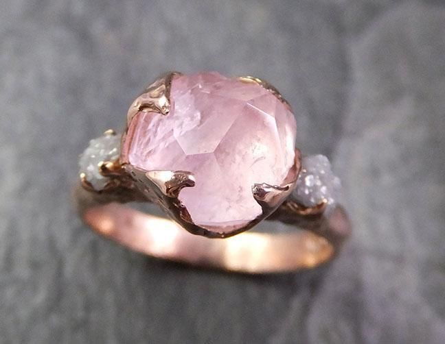 Partially Faceted Morganite Diamond 14k Rose Gold Engagement Ring Multi stone Wedding Ring Custom One Of a Kind Gemstone Ring Bespoke Pink Conflict Free by Angeline 1324 – Jewlery