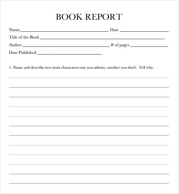 10 Book Report Templates With Images Book Report Templates