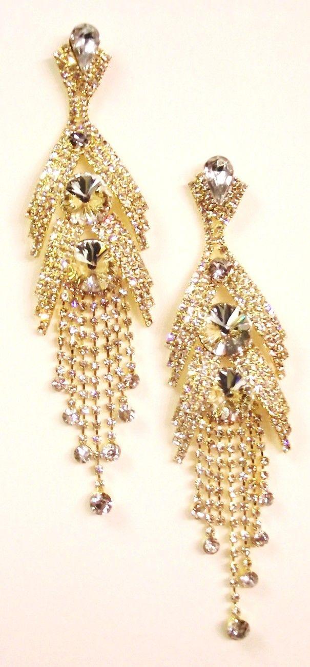 Gold Clear Swarovski Crystal Waterfall Pageant Earrings Sale $2379  #jewelry_jungle