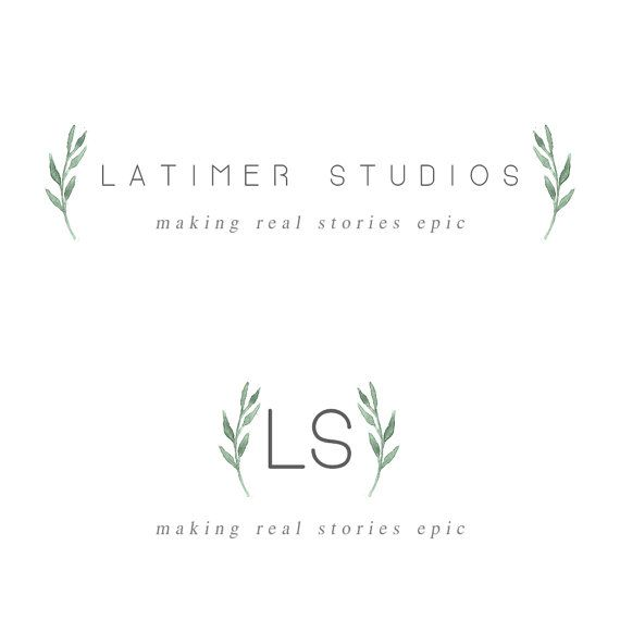 Premade Logo Design//Watercolor Green Branch by MillyBoutique
