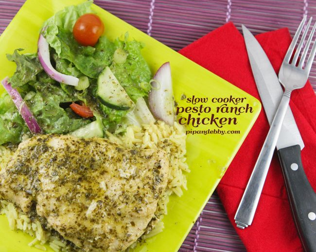 Easy, tender and delicious Slow Cooker Pesto Ranch Chicken. | pipandebby.com