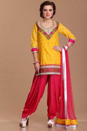 Designer Yellow Polyester Patiala Salwar suit - 1498