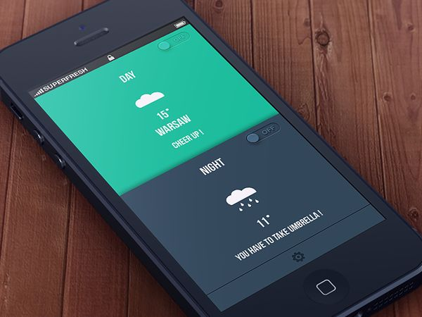 Weather app + psd by Paweł Pniewski, via Behance