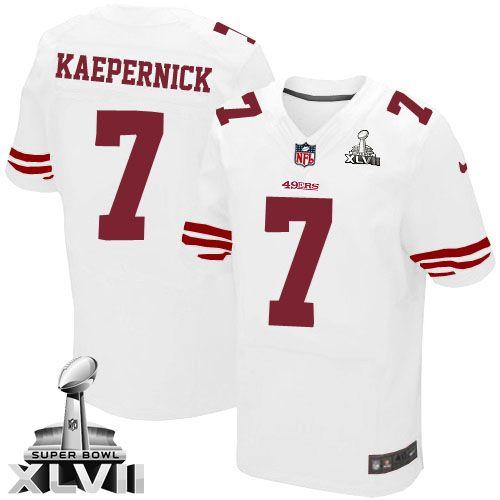 Mens Nike San Francisco 49ers #7 Colin Kaepernick Elite White Super Bowl XLVII NFL Jersey Christmas sale