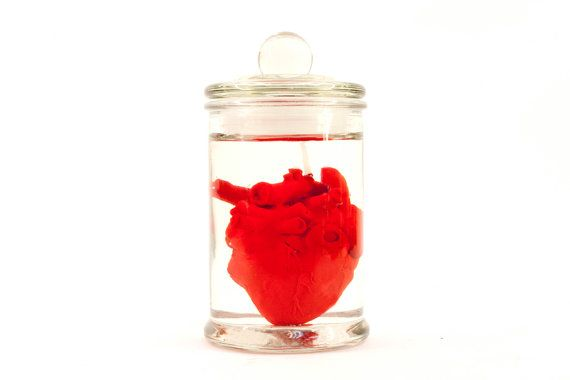 red heart in jar candle