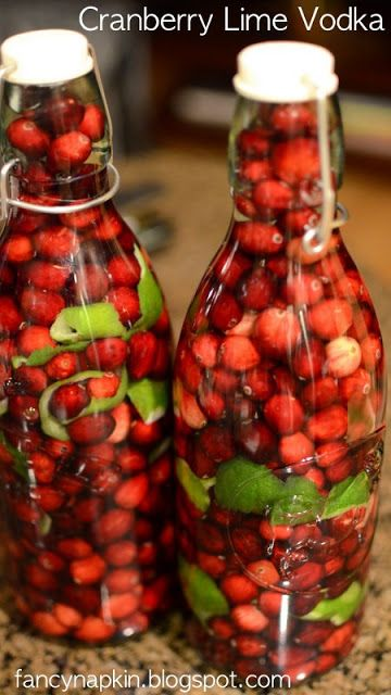Cranberry and lime infused vodka. Would be a great gift to make for holidays or just enjoy for yourself.