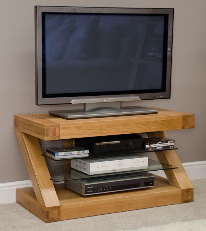 Z solid oak designer furniture television cabinet stand unit
