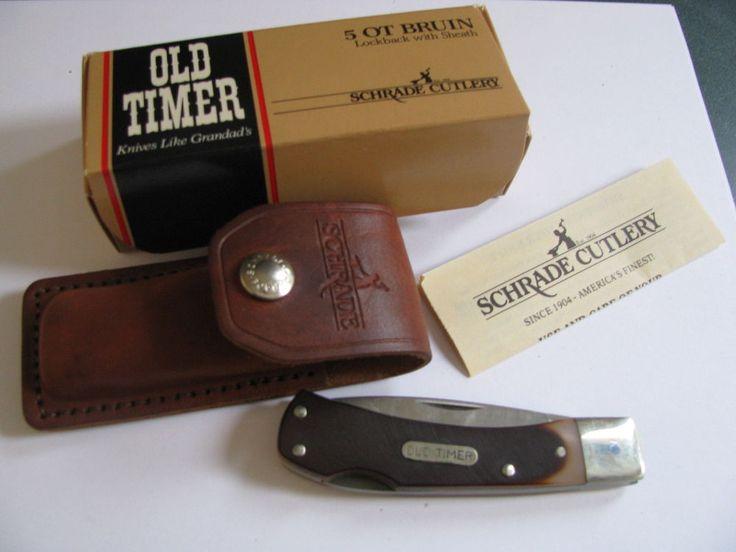 Vintage U.S. Made Schrade Bruin Lockback 5OT Old Timer pocket knife & Sheath #Schrade