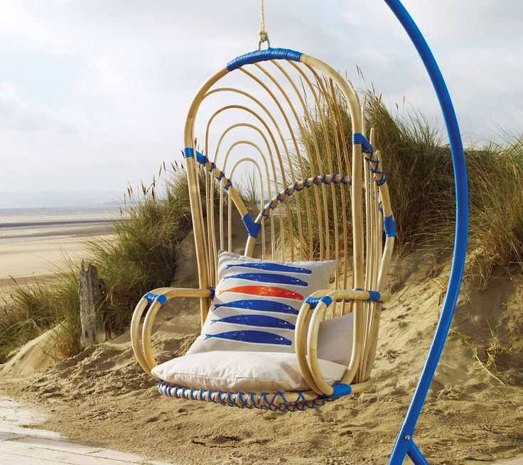 Good Cool Hanging Chairs For Indoor And Outdoor : Enticing Lyra Rattan Hanging  Chair Design Inspiration With Blue Curved Stand And Beige Fish Pat.