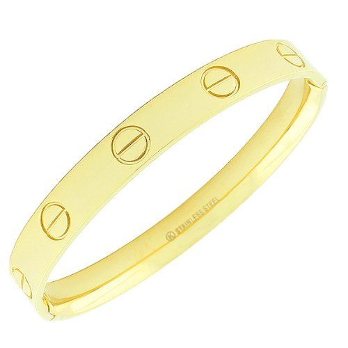 Amazon.com: Stainless Steel Yellow Gold Tone Screw Design Womens Handcuff Bracelet: Jewelry $16