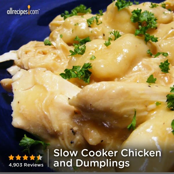 "Slow Cooker Chicken and Dumplings | ""In 10 years on this site, I have never rated a recipe. I wanted to love my crock pot but I haven't found recipes I like.  I am VERY happy I tried this recipe. It is the first meal I have liked in my crock pot (minus the typical appetizer's like dips and cocktail meatballs). This recipe is top shelf."""