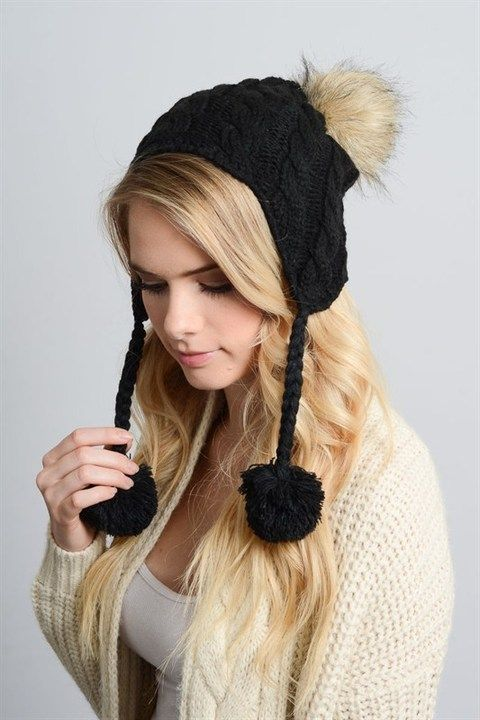 Snow Bunny Knit Beanie With Pom ~ Black