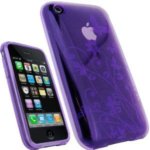 iGadgitz Butterfly Purple Durable Crystal Gel Skin (Thermoplastic Polyurethane TPU) Case Cover for Apple iPhone 3G & 3GS