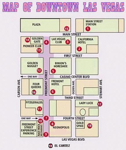 Map of downtown Las Vegas. Handy if you stay near Fremont St instead of the strip.