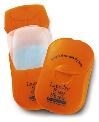Laundry Soap Sheets by Magellans Travel Supplies. Theres enough detergent for 50 laundry washes tucked into this compact carry-on compliant container. Weighing less than one ounce, these biodegradable soap sheets are also easy to use. #travel #gift #accessory
