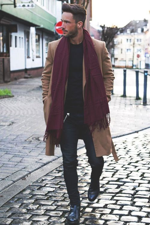 winter is coming // camel coat, topcoat, menswear, black denim, chelsea boots, scarf, mens style, mens fashion