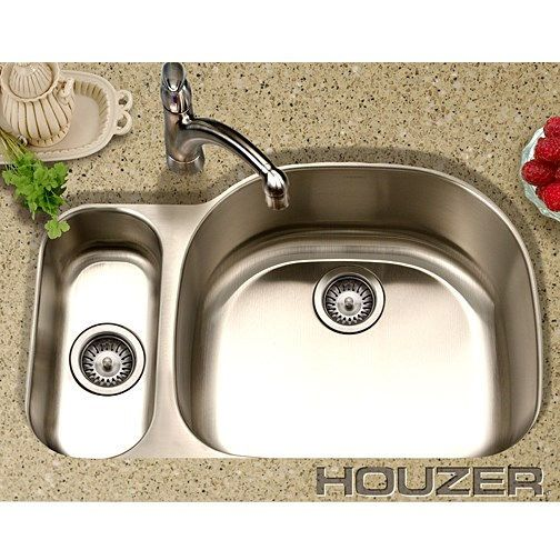 Houzer MG 3209SL 1 Medallion Designer Stainless Steel (Double Bowl) Sink