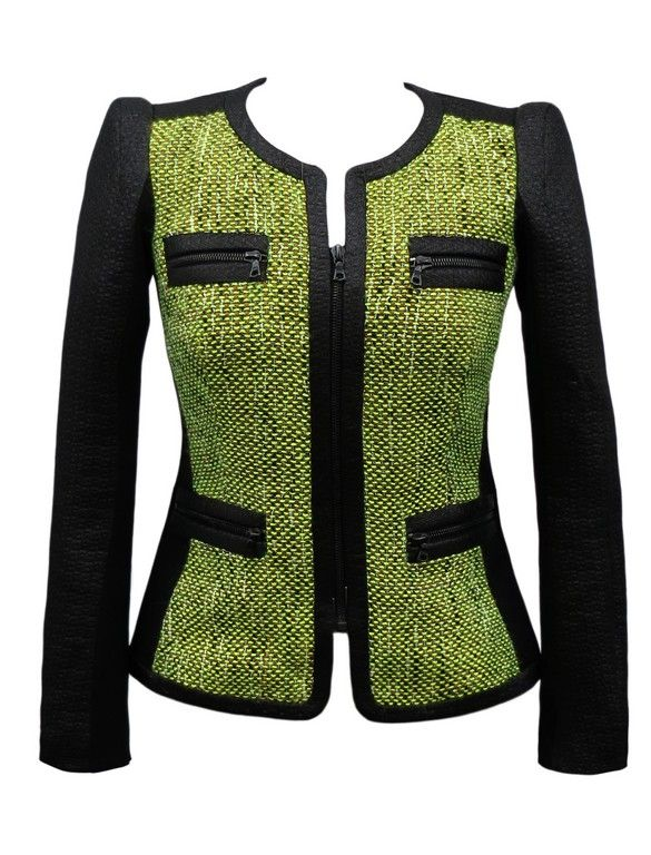 Yoana Baraschi Tweed Jacket in Black/Lime