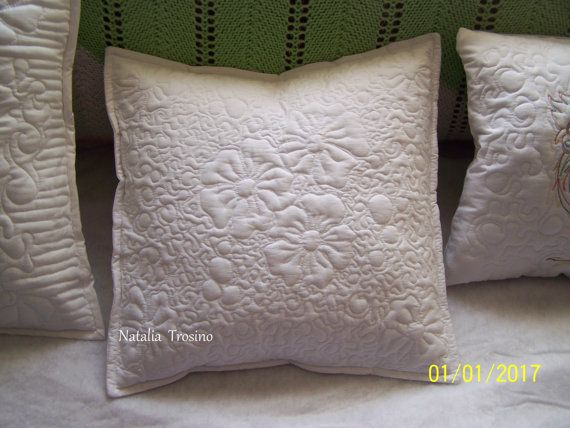 Textile  quilted pillowcase White by NaTrosinoQuiltForAll on Etsy