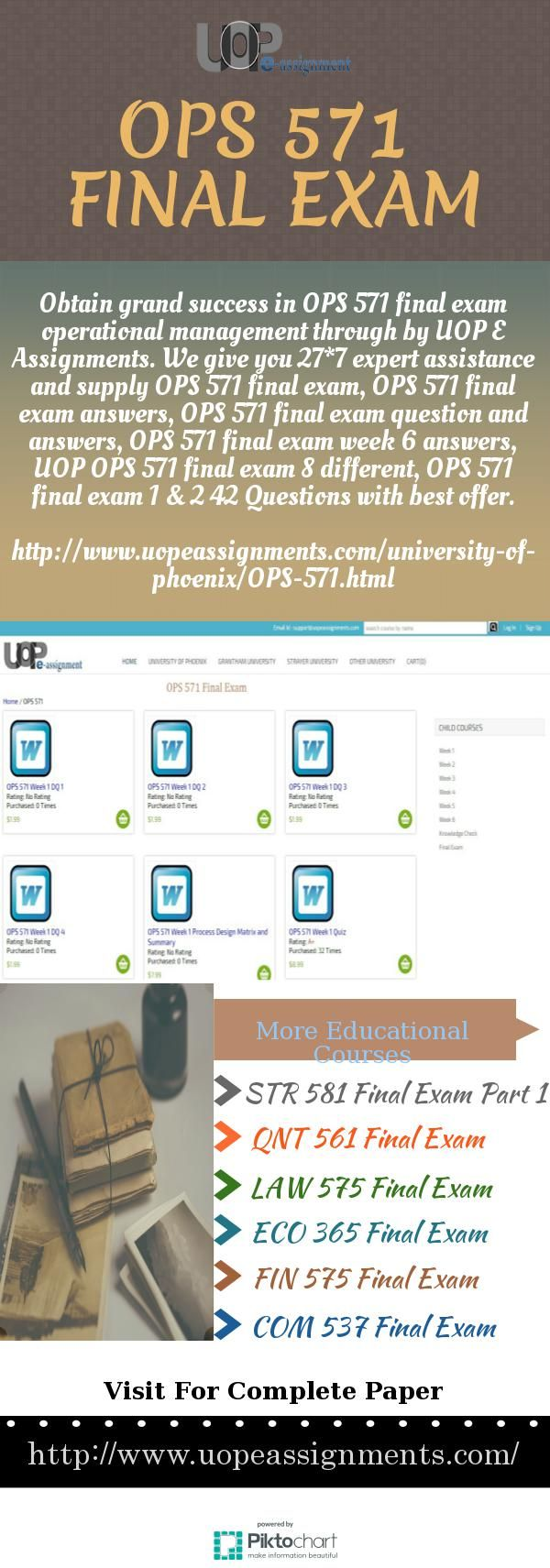 UOP E Assignments are the only educational tutoring service provider in the USA that guarantees start-to-finish final exam support of the university of phoenix students. We provide OPS 571 final exam operational management, OPS 571 final exam answers, OPS 571 final exam question and answers, OPS 571 final exam week 6 answers, UOP OPS 571 final exam 8 different, OPS 571 final exam 1 & 2 42 Questions and 24*7 customized support for free…