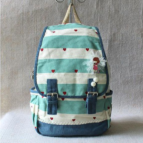 Fashionable backpack, backpack for middle school students, travel package,Computer bag,Stripe cotton canvas bag