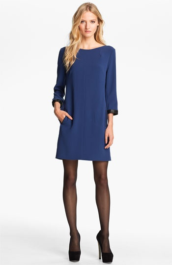 Classy and comfy | rag & bone 'Harlow' Leather Trim Shift Dress | Nordstrom
