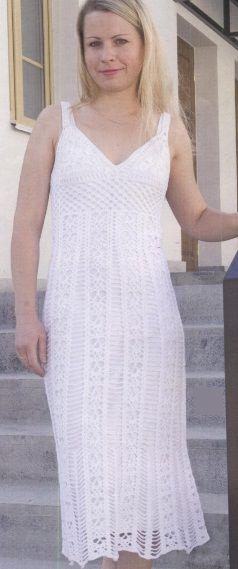"""Vestido branco de crochê - Vestido modelo tirado de """"Xenia"""" № 5/2012 Openwork vestido associado gancho № 700 de 2,5 g de fios (""""Lotus"""", 100% algodão). Descrição tamanhos 42-44. esquema de tricô vestido de crochê branco"""