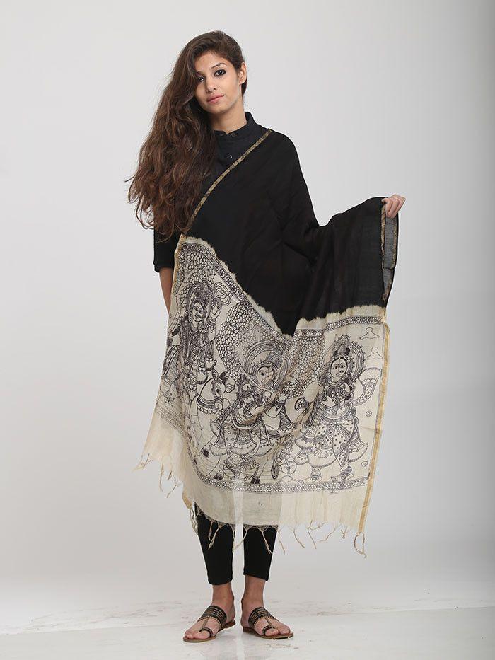Black White Chanderi Kalamkari Dupatta 26 – The Loom