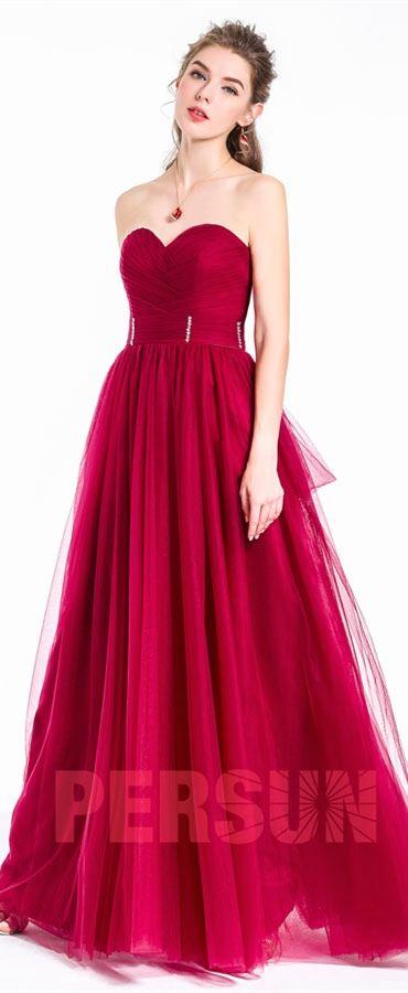 81,61 €  Robe bordeaux de soirée longue bustier coeur princesse en tulle