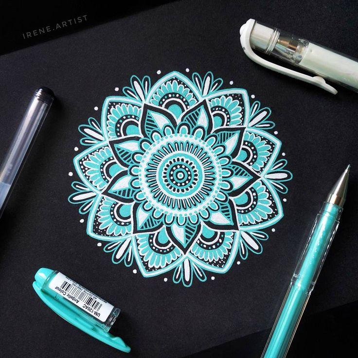 1,279 отметок «Нравится», 29 комментариев — ✍️ Irene Terradas (@irene.artist) в Instagram: « Turquoise mandala on black paper   Pens: uni ball, White (signo)  Uni ball gel pen ,green,…»