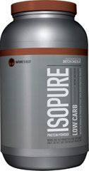Isopure Low Carb Whey Protein Isolate Dutch Chocolate <p><strong>From the Manufacturer's Label: </strong></p><p>Nature's Best Zero Carb Isopure contains 50 grams of 100% Ion Exchange Whey Protein Isolate. Any and all impurities typically found in most whey proteins have been removed to provide you with a great tasting, lactose free, fat free, glutamine enriched, state of the art carbohydrate free protein supplement.</p> 3 lbs Powder  $44.99