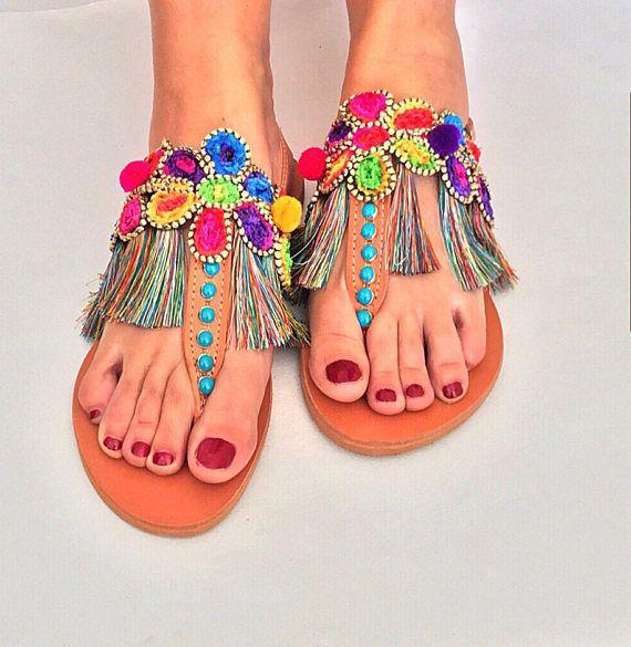 Leather T Strap Sandals Bora Bora Colorful Pom