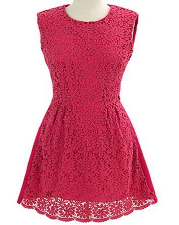 Rose Red Sleeveless Back Zipper Hollow Lace Sundress