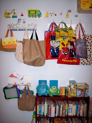 Toy storage in a small space http://sunnydaytodaymama.blogspot.co.uk/2009/03/toy-storage-in-small-space-kid-friendly.html