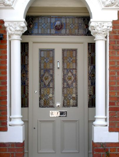 London Doors, Front Door, Victorian / Edwardian Door.  Awesome stained glass!