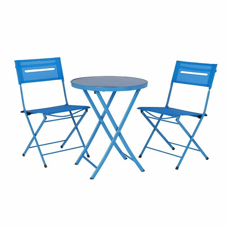 Wilko Garden Furniture Balcony Bistro Set Textilene Blue 400 x 300