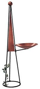 Copper and Iron Pyramid Obelisk & Birdbath - contemporary - bird baths - GI Designs
