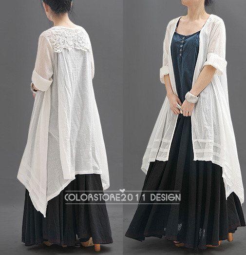 Loose lino ceñido blusa larga para la Mujer - Azul-blanco - qz103 Ropa