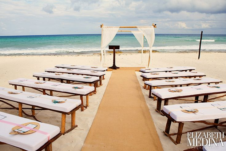 Playa del Carmen, Mexico.  - love the simplicity of this setup. I would probably change the benches to white chairs - other than that, it's all good.
