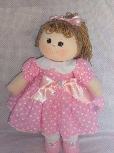 Bonecas de Pano Rosa e Branca | Mimos Personalizados Tia Nú | Elo7