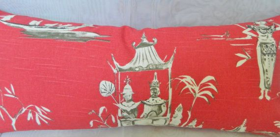 This listing is for one any size of designer decorative pillow cover with unique and fun Asian patterned on red and gray cotton fabric. Great decorative pillow additions for your couch, sofa, beds, any single chairs, window seats, etc. Made with high quality fabric and invisible