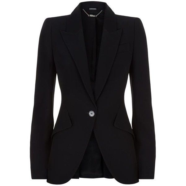 Alexander McQueen Tailored Crepe Blazer found on Polyvore featuring outerwear, jackets, blazers, alexander mcqueen, black fitted jacket, crepe blazer, alexander mcqueen jacket and fitted jacket