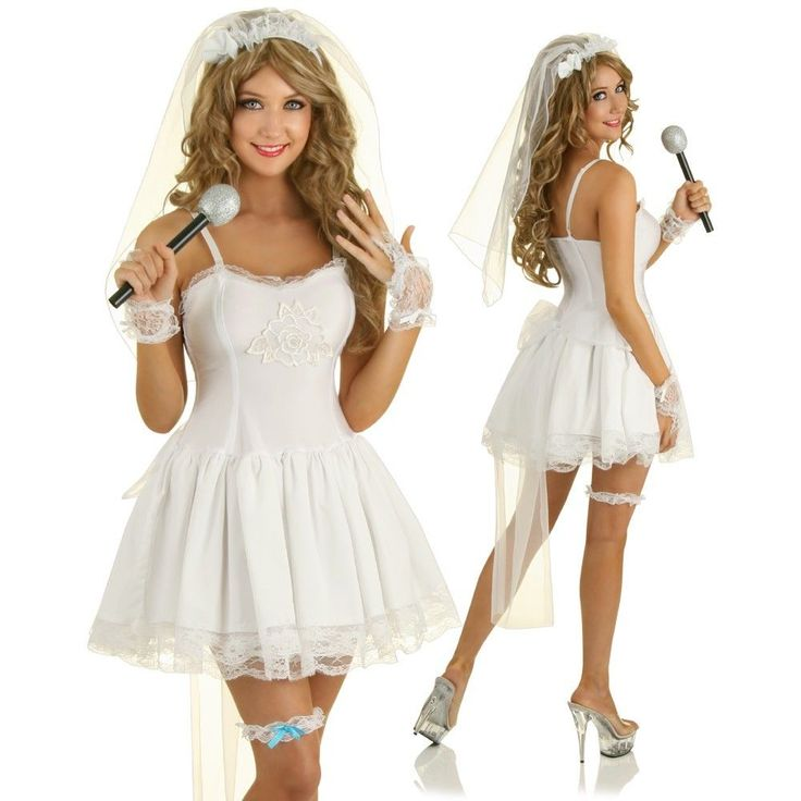 Adult Bridal Costume 80s Madonna Pop Star Fancy Dress Hens Night Party Outfit