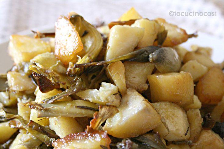 Patate e carciofi al forno | Ricetta contorno