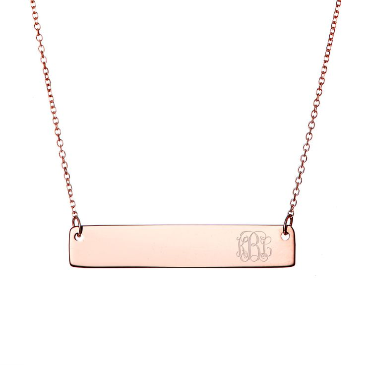 Petite Script Monogram Rose Gold Bar Necklace