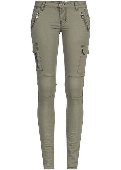 Seventyseven Lifestyle Hose Damen Jeans 6-Pockets 3 deko Zipper olive Seventyseven Lifestyle Hosen | 77onlineshop im Online Shop preiswert kaufen
