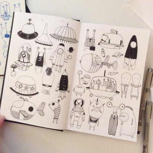 Spaceship #IFDrawAWeek #IFDrawAWeek3 #doodle #sketchbook #drawing #illustration #creativebug
